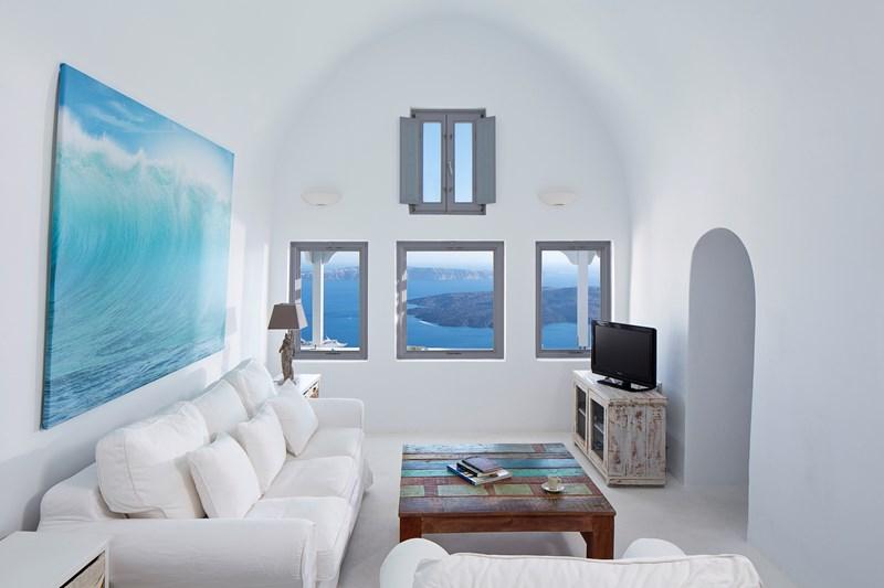 WIMCO Villas, Gaia, MED GAI, Greece, Santorini, Family Friendly Villa, 3 Bedroom Villa, 3 Bathroom Villa, Living Room, WiFi
