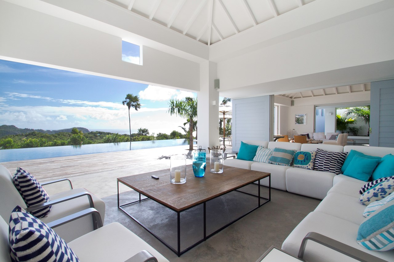 WIMCO Villas, Jasmine, WV EGO, St. Barthelemy, St Barths, Gouverneur, Family Friendly Villa, 4 Bedroom Villa, 4 Bathroom Villa, Pool, Living Room, WiFi