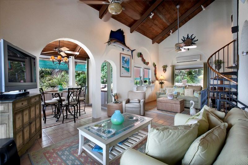 WIMCO Villas, Seabright, MA SEA, St. Thomas, Magens Bay, Family Friendly Villa, 2 Bedroom Villa, 2 Bathroom Villa, Pool, Living Room, WiFi
