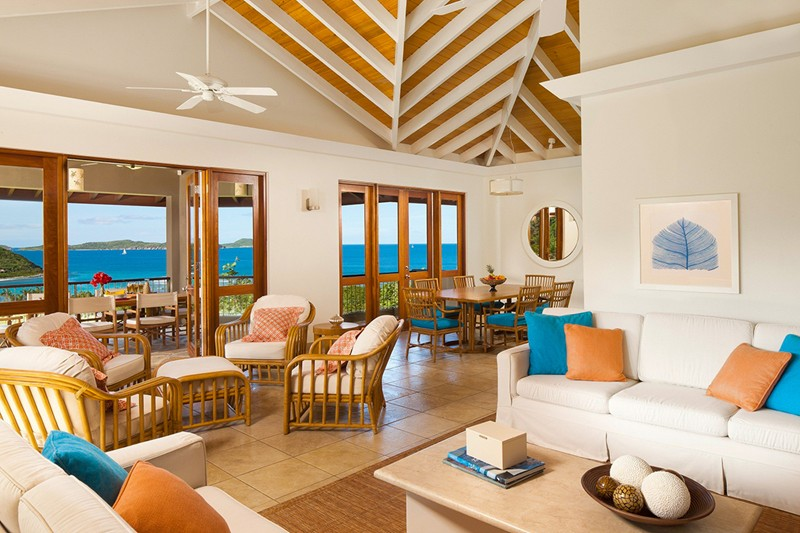 WIMCO Villas, Rosewood Little Dix Bay, Virgin Gorda, Living Room, Book now with WIMCO Villas