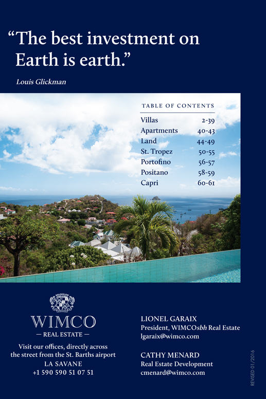 WIMCOsbh Villa real estate on St Barths overlooking the Caribbean Sea
