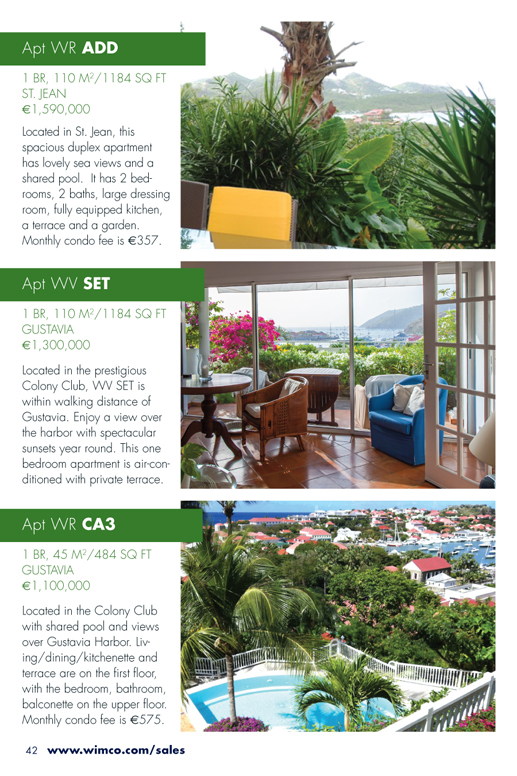 WIMCO Apartments for Sale, WR ADD, WV SET, WR CA3, St Barths
