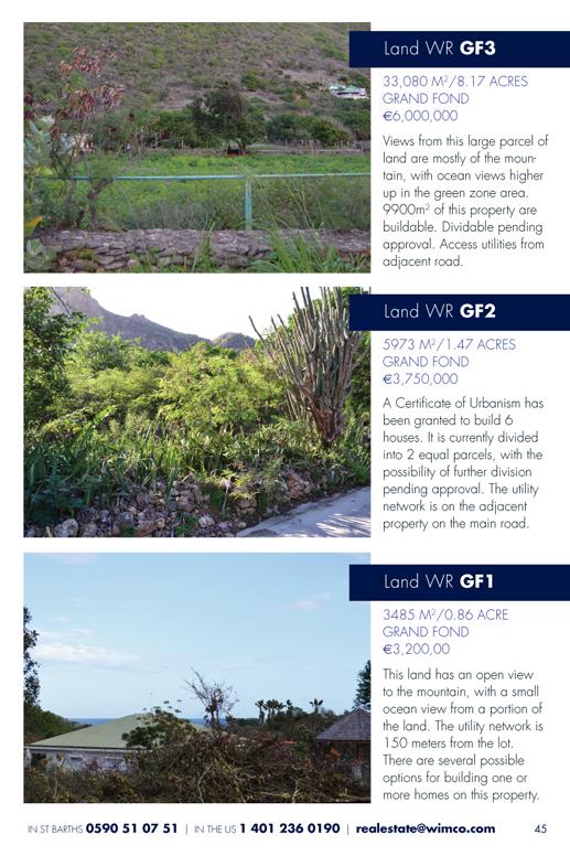 WIMCO Land for sale, WR GF3, WR GF2, WR GF3, Grand Fond, St Barths