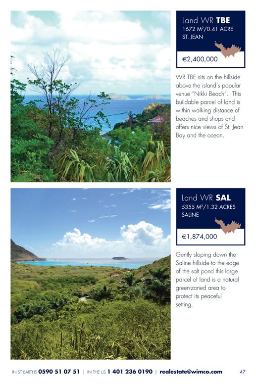 WIMCO Land for sale, WR SAL, WR TBe, WR GF3, St Barths